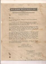 1927 HELLMANN'S MAYONNAISE printed letter from the company re: the new calendar