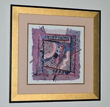 AMAZING ABSTRACT GOLD LEAF DOUBLE MATTED BRONZE & BLACK FRAME SPECTACULAR PIECE