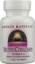 Source Naturals MethylCobalamin Vitamin B-12 Subl Cherry 1mg - 60 tab