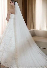 Romantic Bridal 3m Cathedral Length Cut Edge Wedding Veil in Ivory w/ Comb