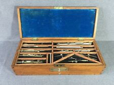 Antique Draughtmans | Drawing Set in Oak Box with Key