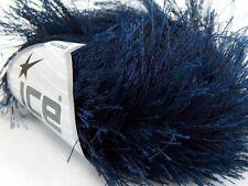 38Y Navy Blue Extra Long Eyelash Yarn Ice Luxurious Solid Blue Fun Fur 50g 14158