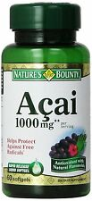 Acai 1000 mg Nature's Bounty 60 Softgels Antioxidant Berry Flavonoids