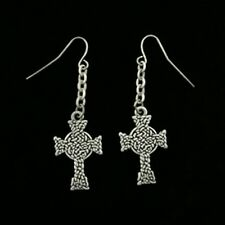 Celtic Knot Cross Pattern Dangling Earrings Pewter Jewelry J064