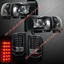1994-2001 DODGE RAM PICKUP BLACK HEADLIGHTS + CORNER LIGHTS + LED TAIL LIGHTS