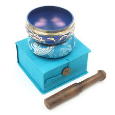 Beautiful Healing Blue Throat Chakra Design Tibetan Singing Bowl Gift Set