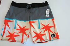 NWT  Quiksilver Men's 36 Young Guns Gray Orange Blue Logo Board Shorts
