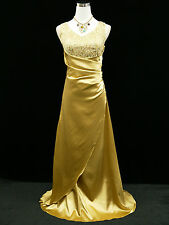 CHERLONE GOLD SATIN SPARKLY LONG PROM GOWN WEDDING BRIDESMAID EVENING DRESS 18