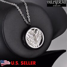 316L Stainless Steel Angelic Wings Essential Oil Diffuser Necklace Aromatherapy