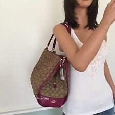 NEW COACH Gorgeous Brown Signature Pink Leather Carryall Tote Shoulder Bag Purse