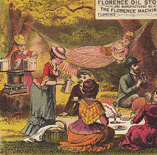 Picnic Camp Florence Oil Stove 1800s Crown Sewing Machine Advertising Trade Card