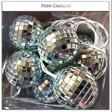 10 Mosaic Mirror Disco Balls Led Colours Lights Battery Operated, 2.10m String