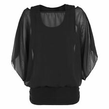 Womens Over Size 2 in 1 Chiffon Ladies Blouse Batwing Tops Size UK 8-22