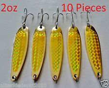 10 Pieces Casting 2oz Crocodile Spoons Gold Trolling Fishing Lures