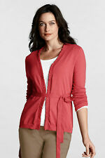 LANDS' END WOMENS NWT LS SUPIMA RUFFLE OPEN-FRONT CARDIGAN--XL (18)--SHIPS FREE