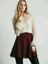 Size 4 FREE PEOPLE Victorian Long sleeve Lace Mini dress Maroon Burgundy White