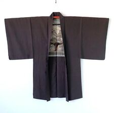 Vintage Japanese Men's Brown Silk Haori with Haori Himo J157