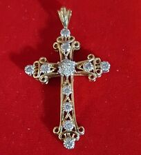 10k SOLID YELLOW & WHITE GOLD CROSS PENDANT WITH 17 REAL DIAMONDS 3.4 GRAMS