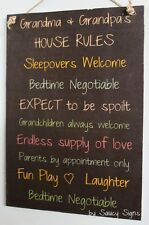Grandparents House Rules Black Kids Cute Rustic Wooden Grandma Grandpa Wall Sign