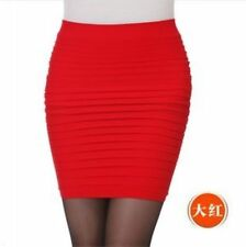 Sexy Womens Jersey Ladies Office Pencil Stretchy Plain Bodycon Skirt Plus Size