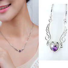 Women Silver Plated Jewelry Fashion Angel Wing Heart Pendant Necklace Lover