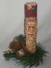 Wooden Painted Stick Santa Claus Christmas Decor Figurine Pinecone Bird Detail