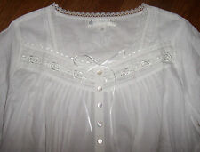 NWT Eileen West Solid White ROSE EMBROIDERED Cotton Lawn Nightgown M Gown Button