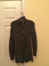 RIVAMONTI SAKS FIFTH AVENUE Gray Cable Knit Toggle Front Cardigan Sweater Sz S