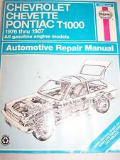 Haynes Auto Repair Manual Chevrolet Chevette Pontiac T1000 1976 Thru 1987