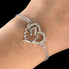 w Swarovski Crystal Peace Dove Heart Pigeon Love Bird Chain Bracelet Jewelry New