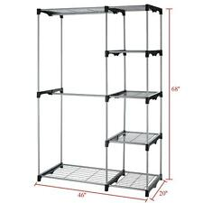Closet Organizer Storage Rack Portable Clothes Hanger Home Garment Shelf Rod 68