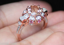 New 10K Natural Peach Morganite 8x8mm / Tourmaline /White Sapphire /Diamond Ring