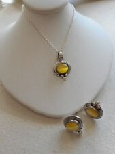 Vintage Sterling Silver Yellow Cat's Eye Pendant Necklace & Earring Set   386972