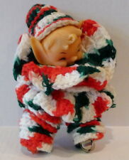 Christmas Elf Doll Handcrafted Crochet Jingle Bell  Vintage 7""