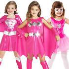 Pink Superhero Girls Fancy Dress Marvel DC Comic Book Hero Kids Childs Costume