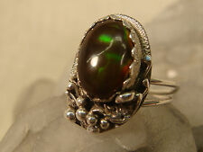 SCOTT WATSON FIRE AGATE STERLING RING SIGNED ARTISAN HANDCRAFTED SILVER SZ 5 1/2