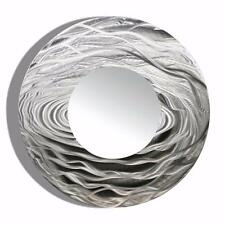 Round Silver Wall Mirror Metal Wall Art Accent for Modern Home Decor - Jon Allen
