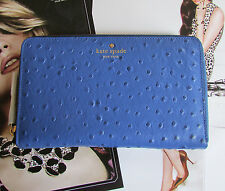 NEW kate spade new york Travel Wallet riverside street ostrich lake blue