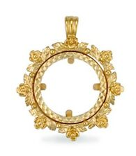 9ct Gold Full Sovereign Coin Pendant Mount 4.5g
