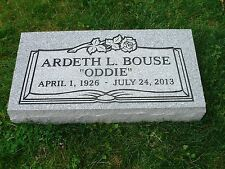 "CEMETERY HEADSTONE- Gray- multiple engraving options ""flat"" or ""grass"""