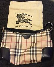 AUTHENTIC BURBERRY NOVA PLAID BLACK LEATHER ZIPPER SHOULDER BAG EXCELLENT Cond