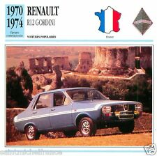 RENAULT R12 GORDINI 1970 1974 CAR VOITURE FRANCE CARTE CARD FICHE