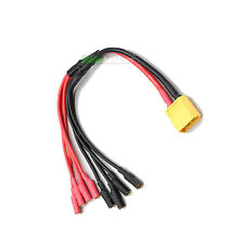 XT60 to 4 x 3.5mm Bullet RC QuadCopter ESC LiPo Battery Power Cable Heli Quad UK