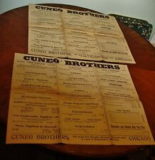 2 Cuneo Brothers Chicago Orig. ADVERTISING General store POSTERs 1904