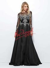 Mac Duggal 82152R Prom Pageant Evening Gown Black Embellished Long Sleeve Dress