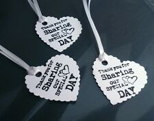 "10x Wedding Favour Heart Tags ""THANK YOU FOR SHARING OUR SPECIAL DAY"""