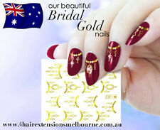 NAIL ART WATER TRANSFERS STICKERS DECALS Bridal Design Gold / Silver Chain Art!
