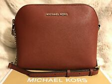 NWT MICHAEL KORS SAFFIANO LEATHER CINDY LARGE DOME CROSSBODY BAG IN BRICK/GOLD