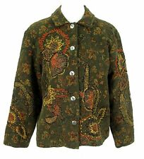 Coldwater Creek Petite Jacket Sz PL Olive Green Floral Chenille Tapestry Blazer