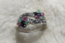 925 Sterling Silver Ruby Sapphire Emerald Cubic Zirconia Gem Set Flower Ring